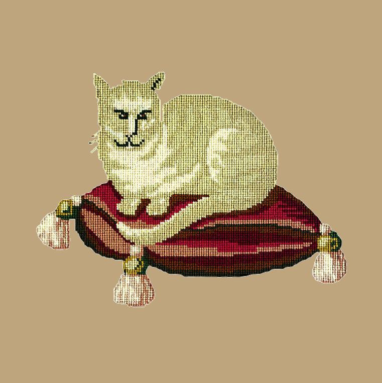 The Cream Cat Needlepoint Kit Elizabeth Bradley Design Sand