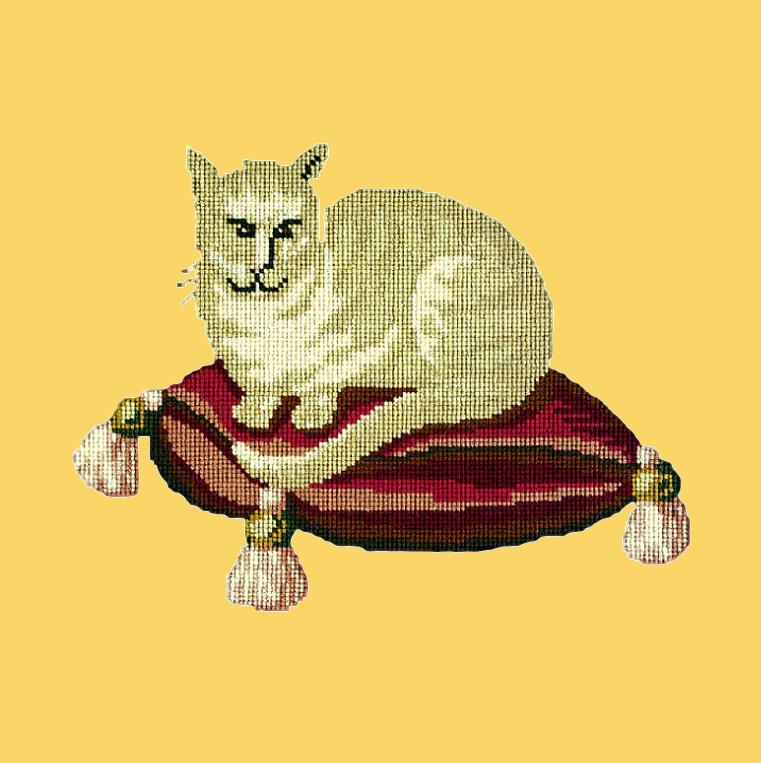 The Cream Cat Needlepoint Kit Elizabeth Bradley Design Sunflower Yellow
