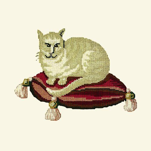 The Cream Cat Needlepoint Kit Elizabeth Bradley Design Winter White
