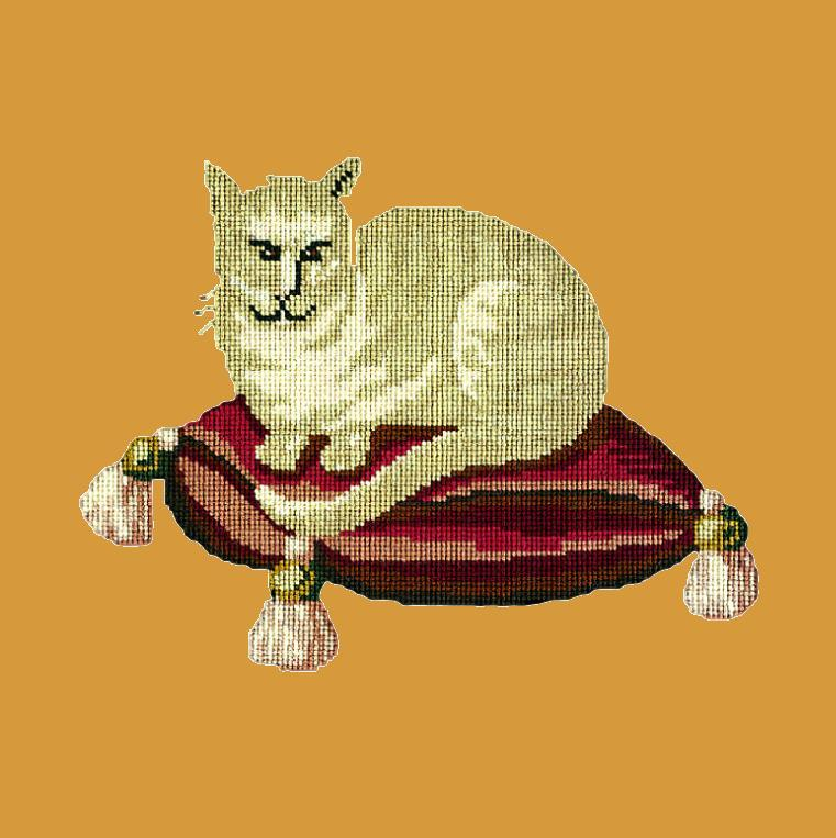 The Cream Cat Needlepoint Kit Elizabeth Bradley Design Yellow