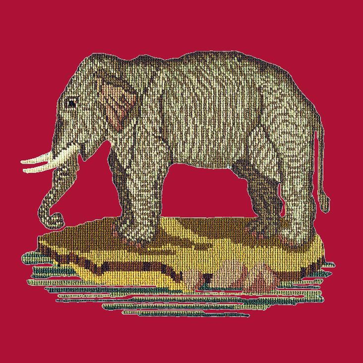 The Elephant Needlepoint Kit Elizabeth Bradley Design Bright Red