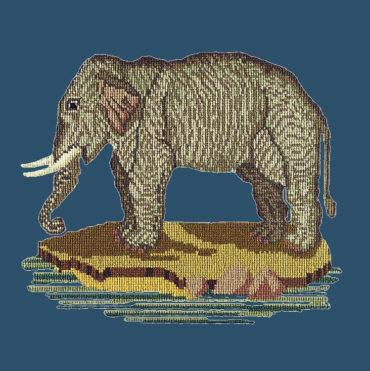 The Elephant Needlepoint Kit Elizabeth Bradley Design Dark Blue