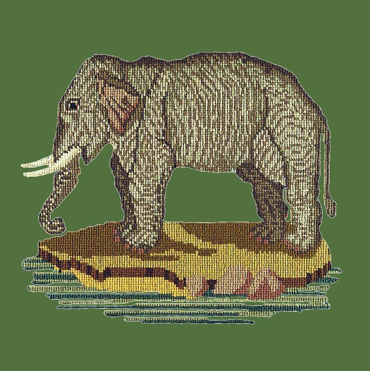 The Elephant Needlepoint Kit Elizabeth Bradley Design Dark Green