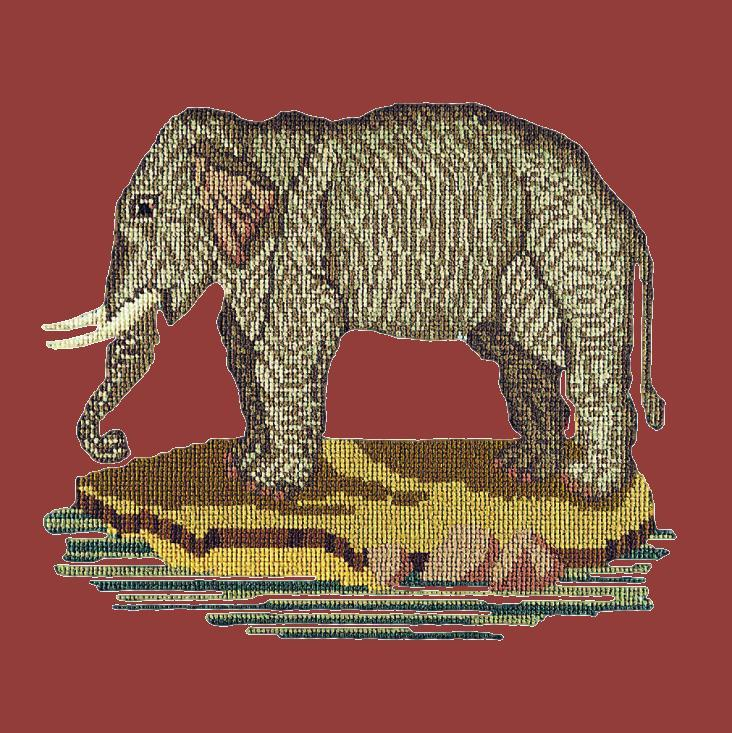 The Elephant Needlepoint Kit Elizabeth Bradley Design Dark Red
