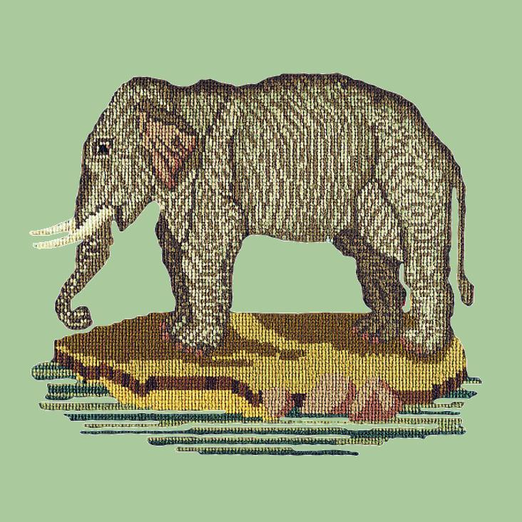 The Elephant Needlepoint Kit Elizabeth Bradley Design Pale Green