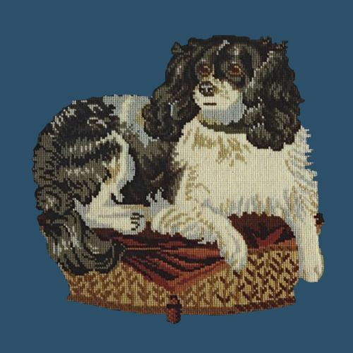The King Charles Spaniel Needlepoint Kit Elizabeth Bradley Design Dark Blue