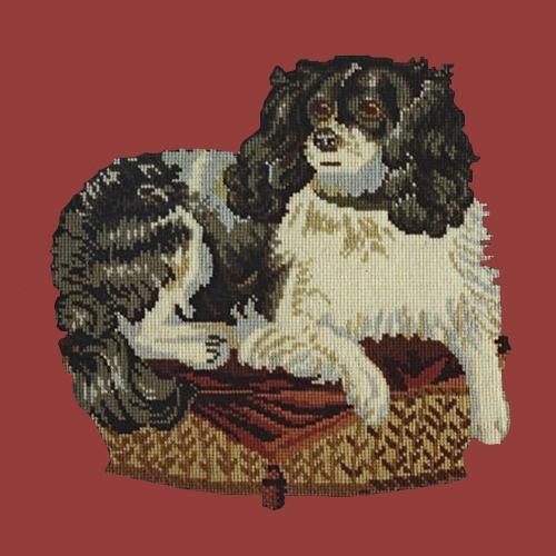 The King Charles Spaniel Needlepoint Kit Elizabeth Bradley Design Dark Red