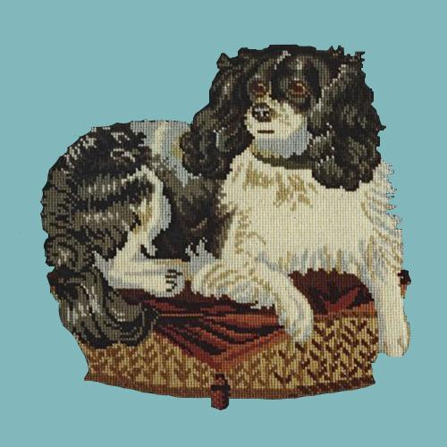 The King Charles Spaniel Needlepoint Kit Elizabeth Bradley Design Duck Egg Blue