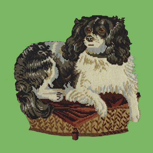 The King Charles Spaniel Needlepoint Kit Elizabeth Bradley Design Grass Green