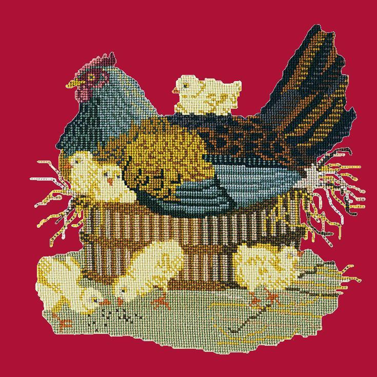 The Mother Hen Needlepoint Kit Elizabeth Bradley Design Bright Red