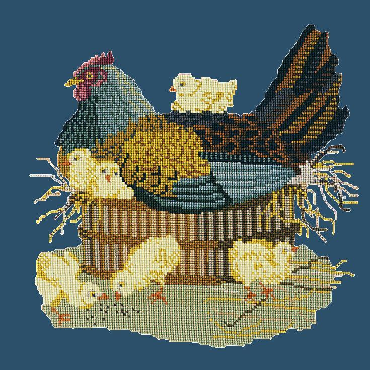 The Mother Hen Needlepoint Kit Elizabeth Bradley Design Dark Blue