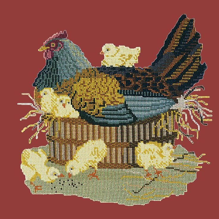 The Mother Hen Needlepoint Kit Elizabeth Bradley Design Dark Red