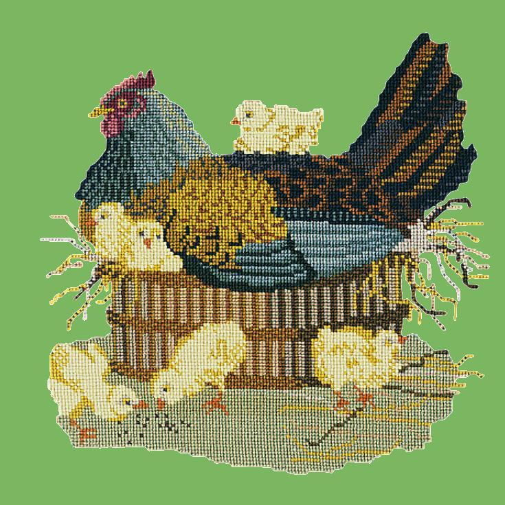 The Mother Hen Needlepoint Kit Elizabeth Bradley Design Grass Green