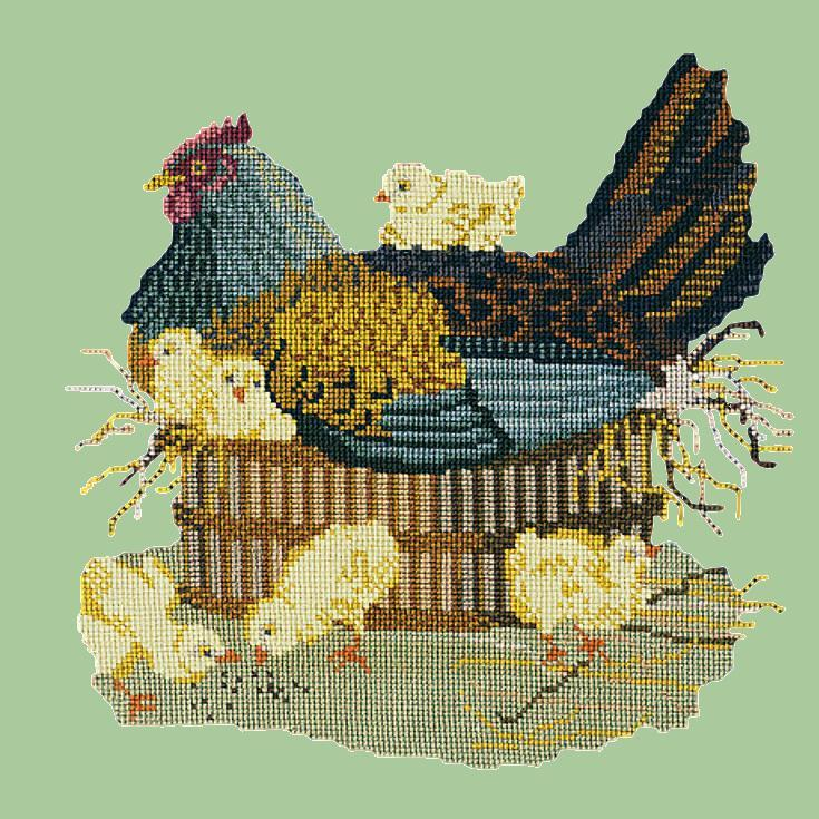 The Mother Hen Needlepoint Kit Elizabeth Bradley Design Pale Green