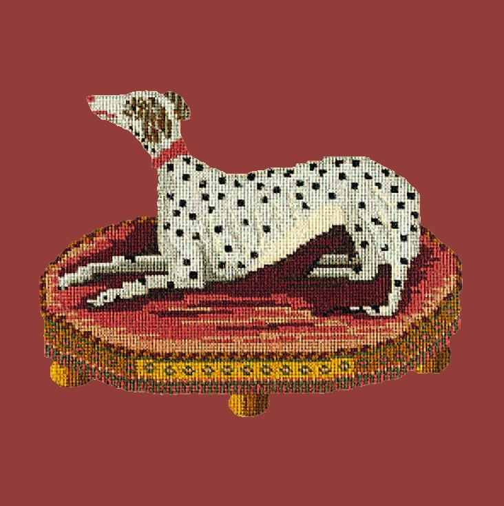 The Spotted Dog Needlepoint Kit Elizabeth Bradley Design Dark Red