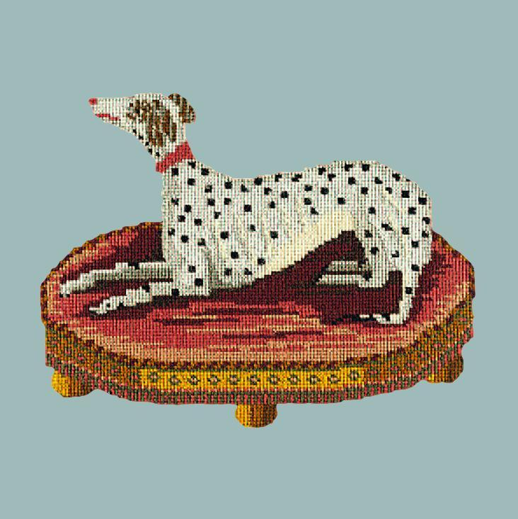 The Spotted Dog Needlepoint Kit Elizabeth Bradley Design Pale Blue