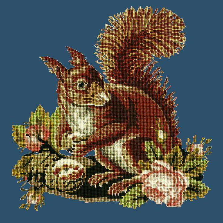 The Squirrel Needlepoint Kit Elizabeth Bradley Design Dark Blue