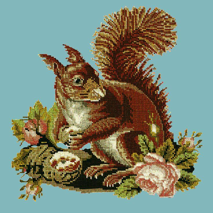 The Squirrel Needlepoint Kit Elizabeth Bradley Design Duck Egg Blue