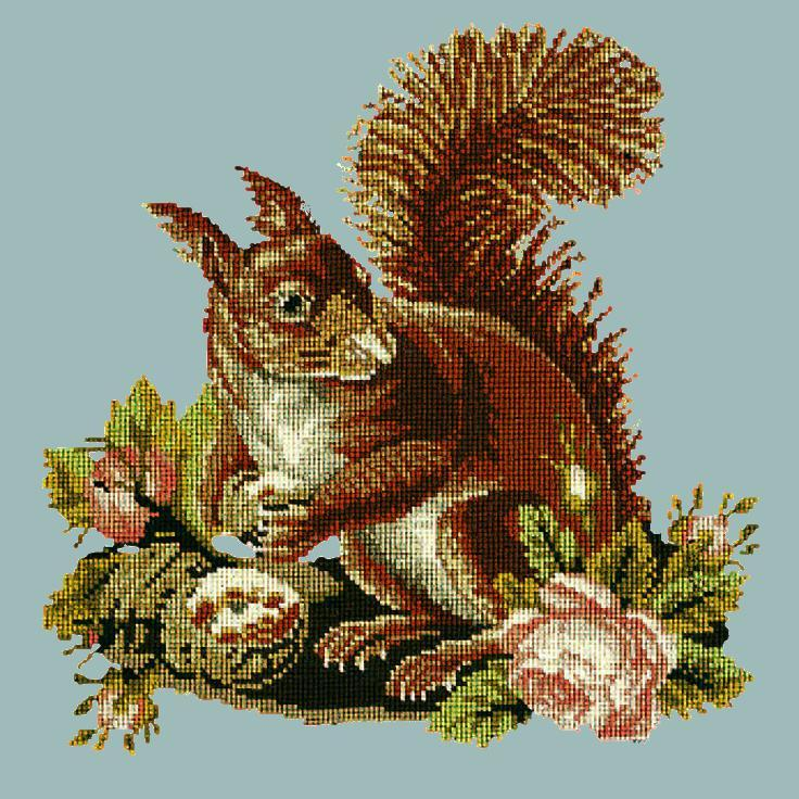 The Squirrel Needlepoint Kit Elizabeth Bradley Design Pale Blue