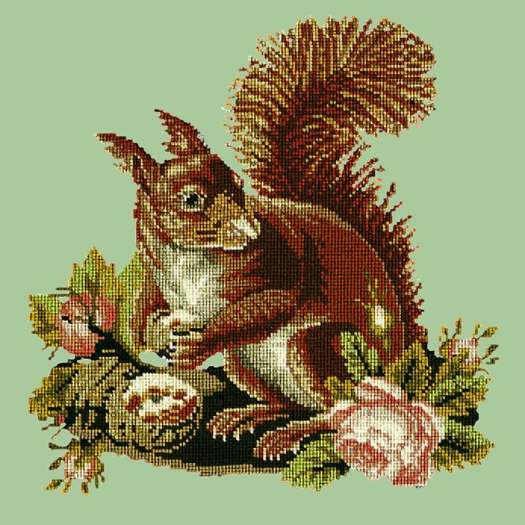The Squirrel Needlepoint Kit Elizabeth Bradley Design Pale Green