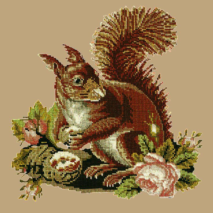 The Squirrel Needlepoint Kit Elizabeth Bradley Design Sand