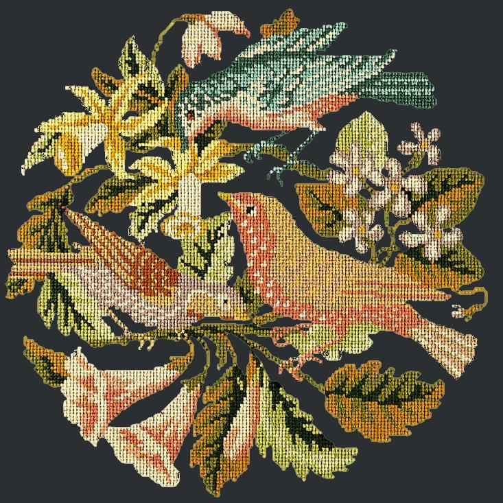 The Three Birds Needlepoint Kit Elizabeth Bradley Design Black