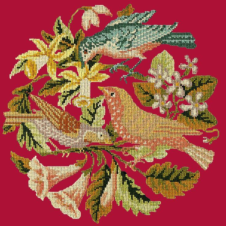 The Three Birds Needlepoint Kit Elizabeth Bradley Design Bright Red