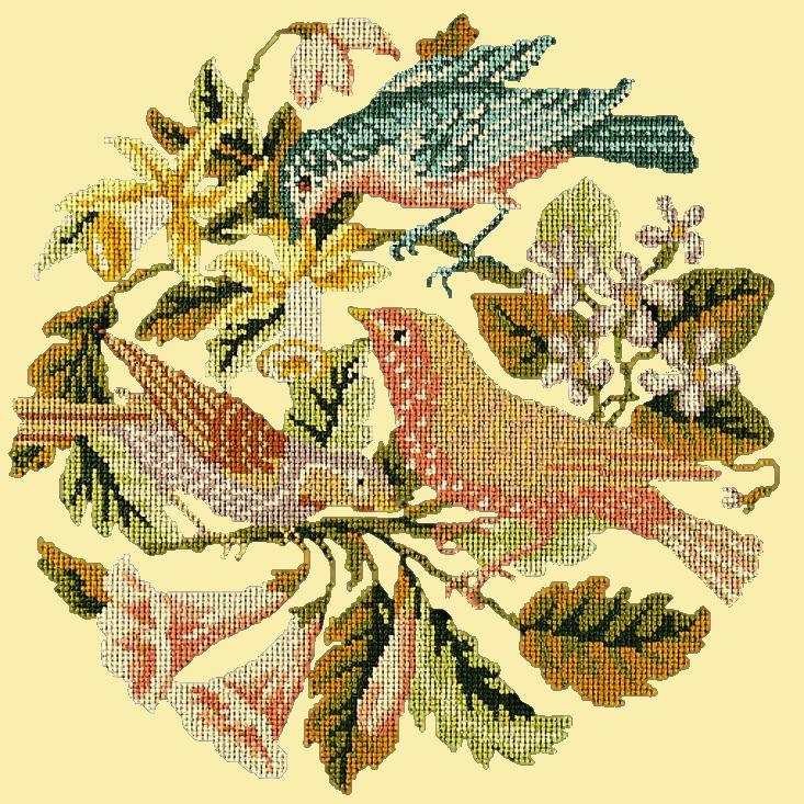 The Three Birds Needlepoint Kit Elizabeth Bradley Design Butter Yellow