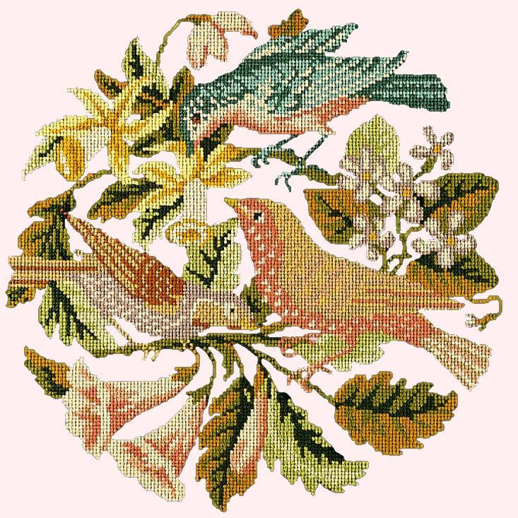 The Three Birds Needlepoint Kit Elizabeth Bradley Design Cream