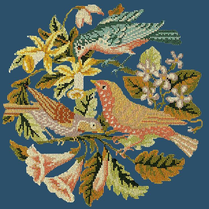 The Three Birds Needlepoint Kit Elizabeth Bradley Design Dark Blue
