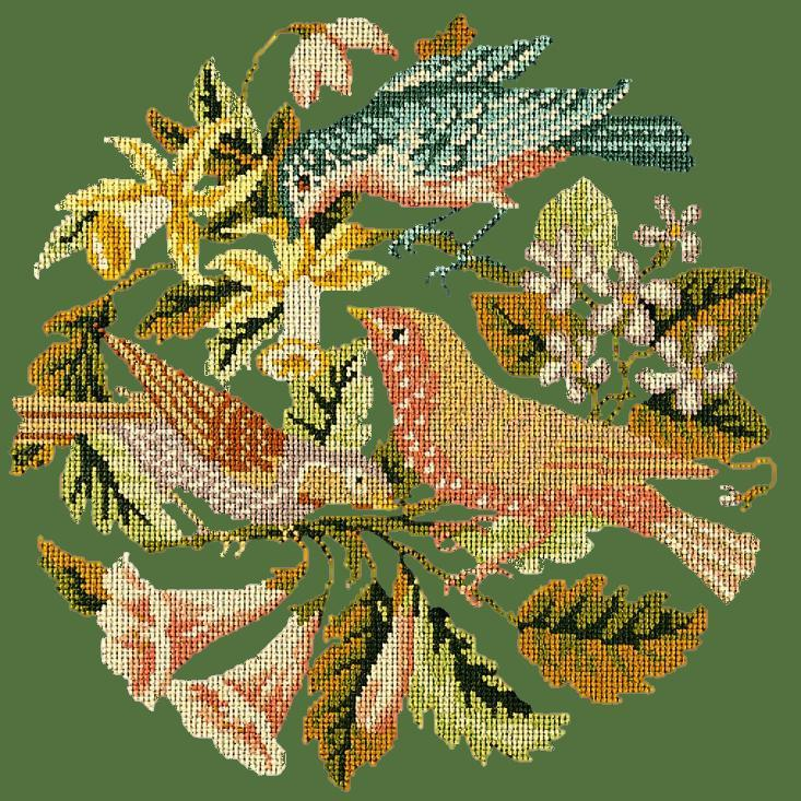The Three Birds Needlepoint Kit Elizabeth Bradley Design Dark Green