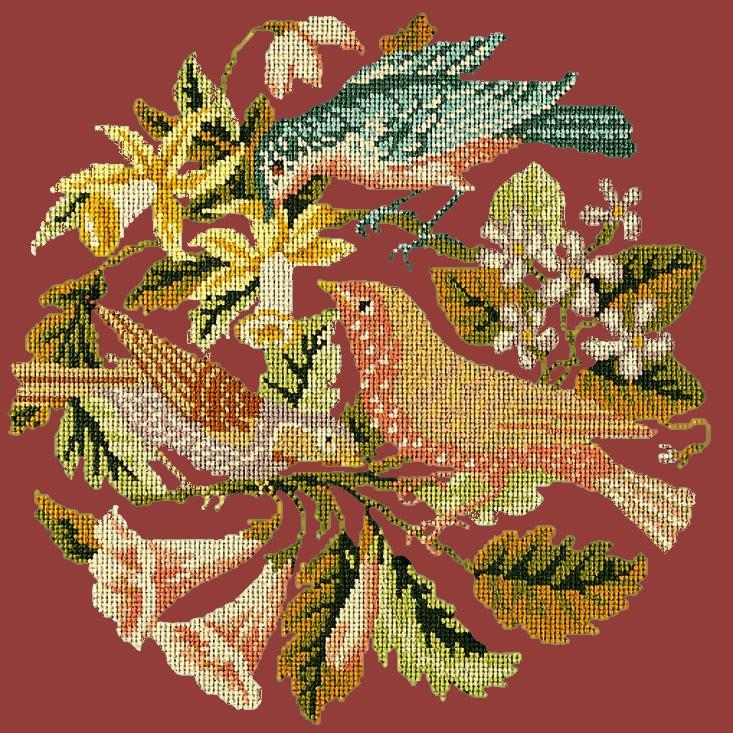 The Three Birds Needlepoint Kit Elizabeth Bradley Design Dark Red