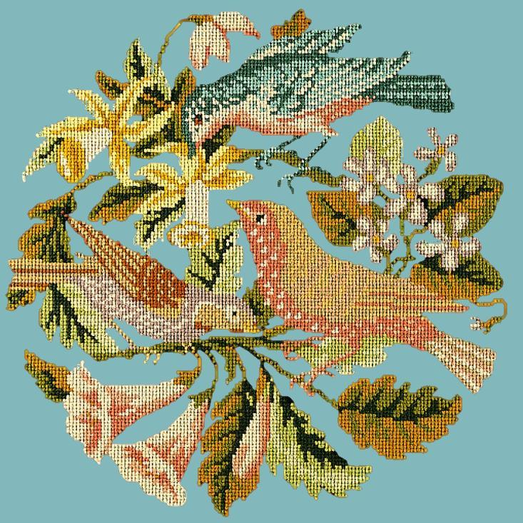The Three Birds Needlepoint Kit Elizabeth Bradley Design Duck Egg Blue