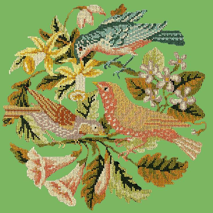 The Three Birds Needlepoint Kit Elizabeth Bradley Design Grass Green