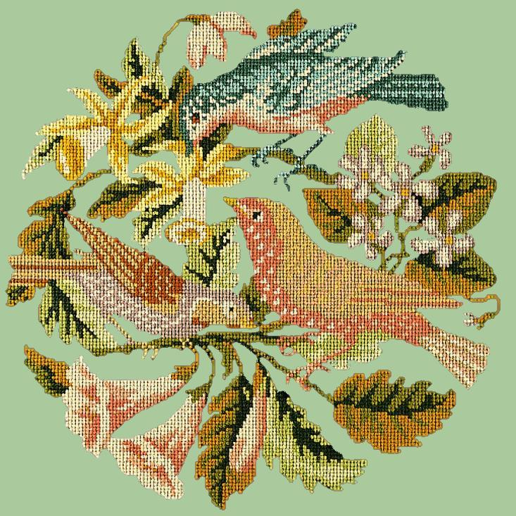 The Three Birds Needlepoint Kit Elizabeth Bradley Design Pale Green