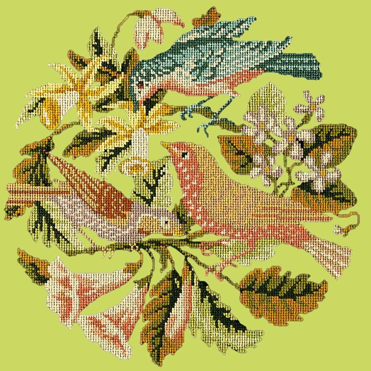 The Three Birds Needlepoint Kit Elizabeth Bradley Design Pale Lime