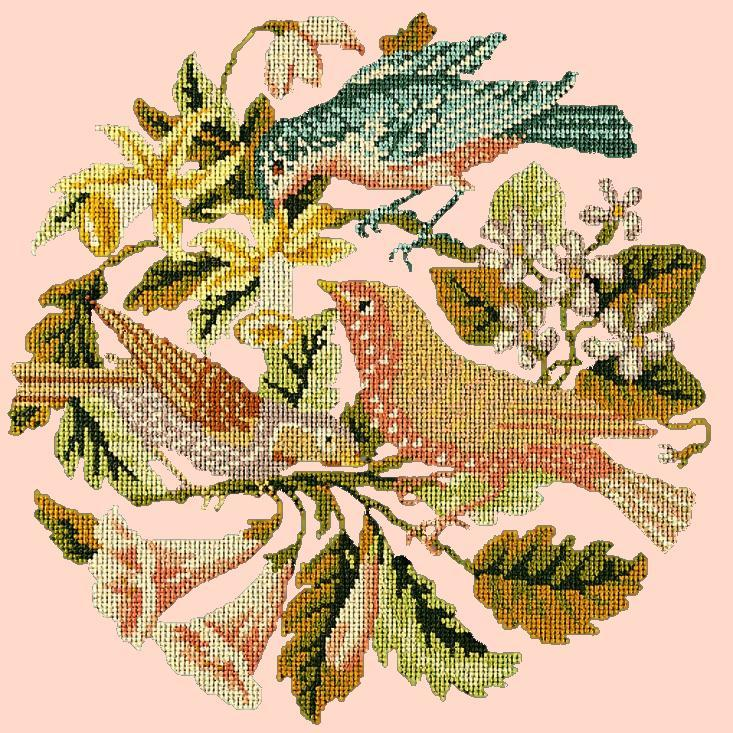 The Three Birds Needlepoint Kit Elizabeth Bradley Design Salmon Pink
