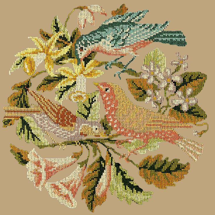 The Three Birds Needlepoint Kit Elizabeth Bradley Design Sand