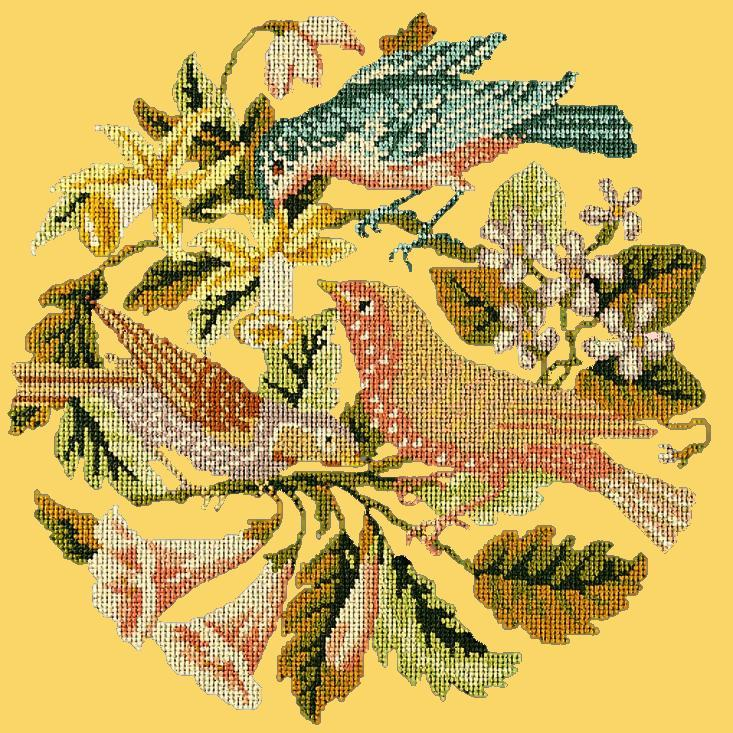 The Three Birds Needlepoint Kit Elizabeth Bradley Design Sunflower Yellow