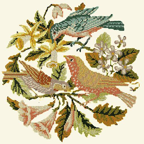 The Three Birds Needlepoint Kit Elizabeth Bradley Design Winter White