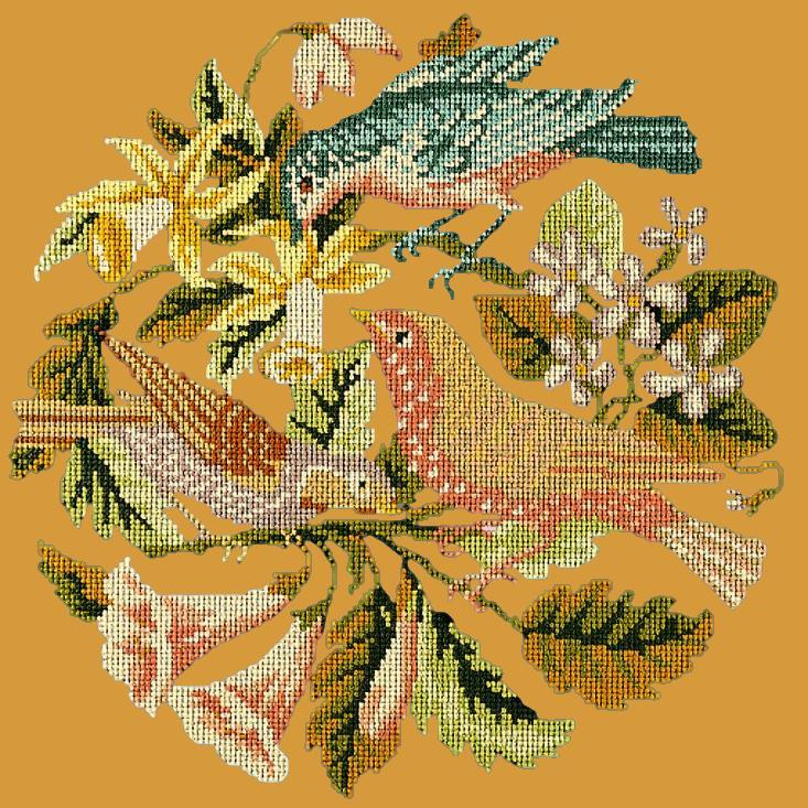 The Three Birds Needlepoint Kit Elizabeth Bradley Design Yellow