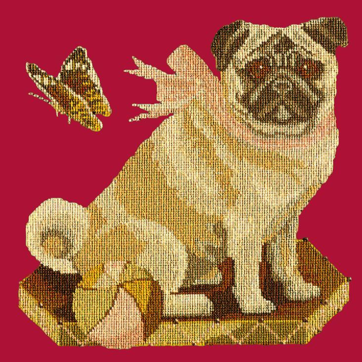 Toby the Pug Needlepoint Kit Elizabeth Bradley Design Bright Red