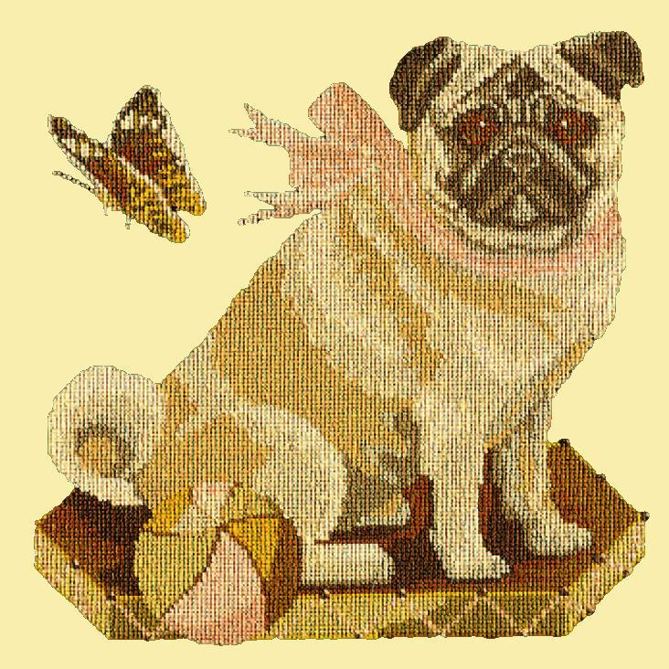 Toby the Pug Needlepoint Kit Elizabeth Bradley Design Butter Yellow