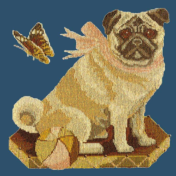 Toby the Pug Needlepoint Kit Elizabeth Bradley Design Dark Blue