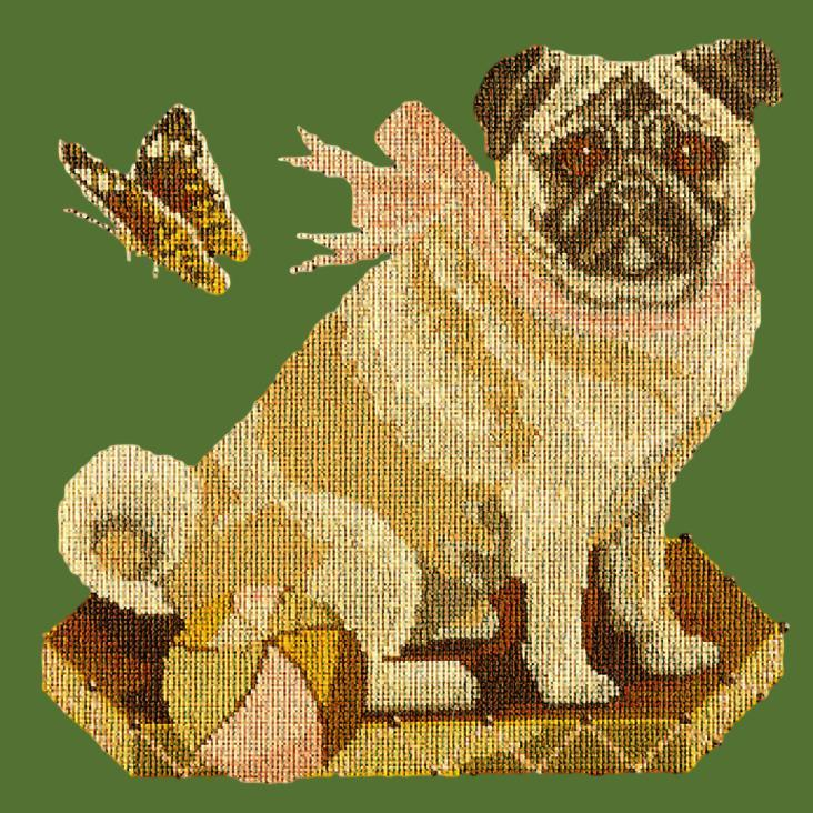 Toby the Pug Needlepoint Kit Elizabeth Bradley Design Dark Green