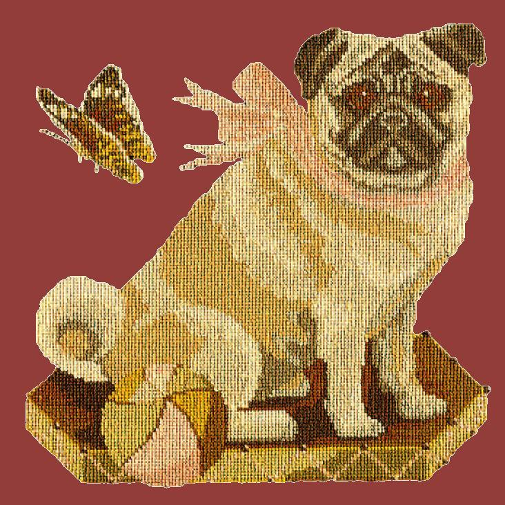 Toby the Pug Needlepoint Kit Elizabeth Bradley Design Dark Red