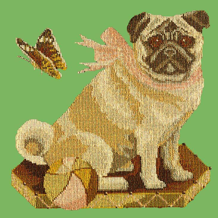 Toby the Pug Needlepoint Kit Elizabeth Bradley Design Grass Green