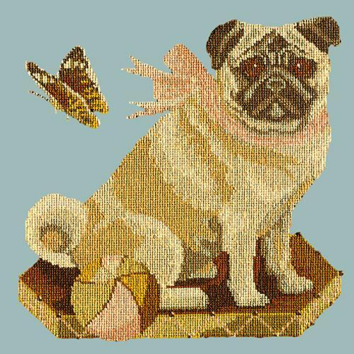 Toby the Pug Needlepoint Kit Elizabeth Bradley Design Pale Blue