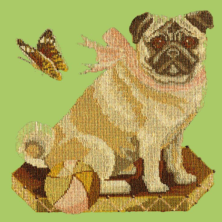 Toby the Pug Needlepoint Kit Elizabeth Bradley Design Pale Green