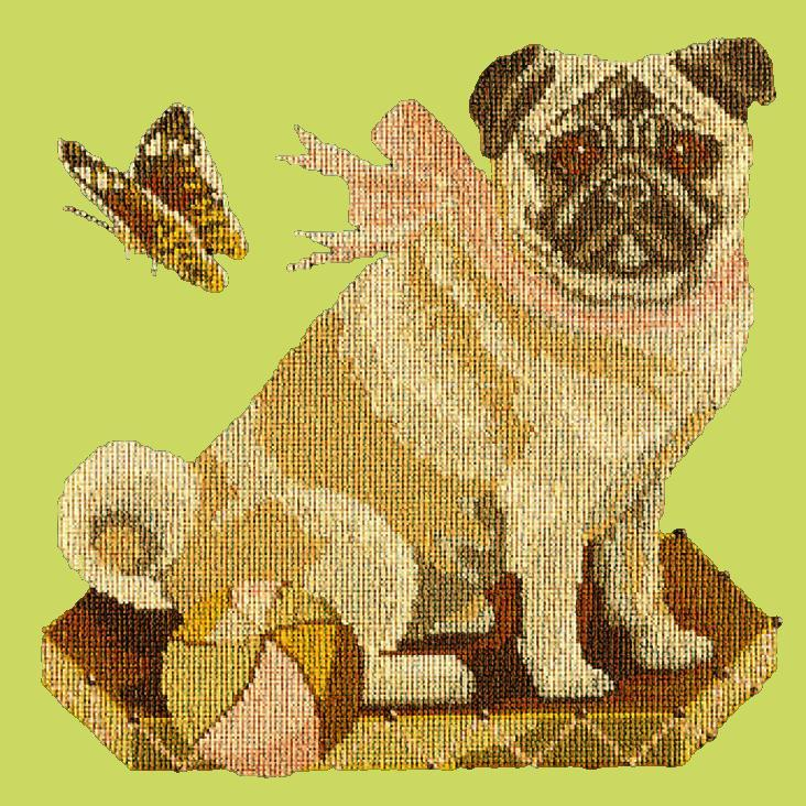 Toby the Pug Needlepoint Kit Elizabeth Bradley Design Pale Lime